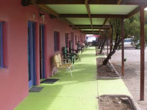 colorful walkway at apartments on Main Street Truth or Consequences