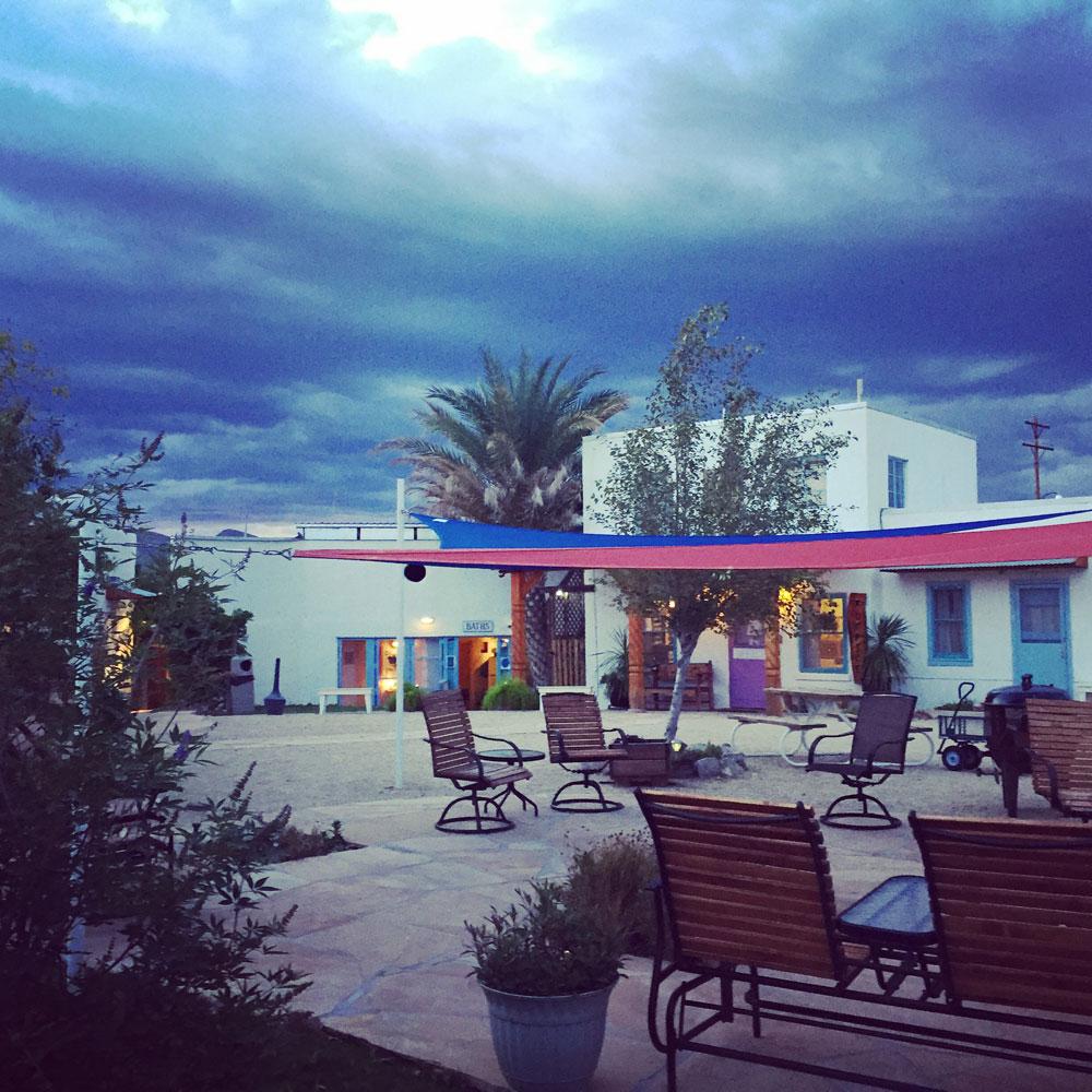 the courtyard at La Paloma Hot Springs