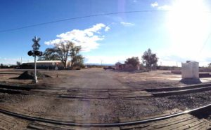 Engle buildings and train tracks